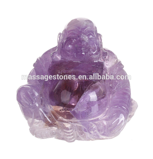 Natural Purple Amethyst Stone Carved Buddha Statue Stone