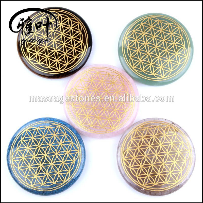 Natural Gemstones Chakra Flower of Life Pendants