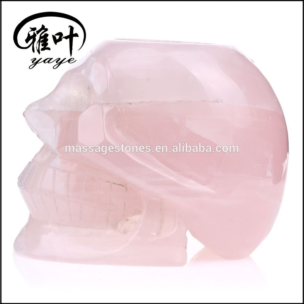 Wholesale crystal skulls hand carved rose quartz skull candle holder
