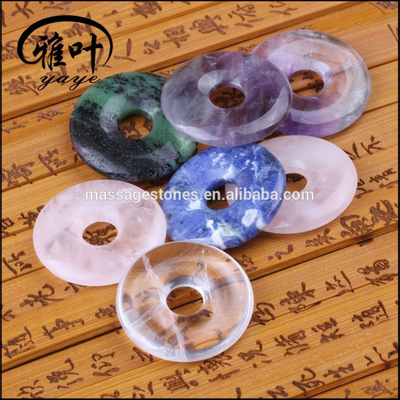Wholesale Natural Semi Precious Stone Assorted Donut Pendant