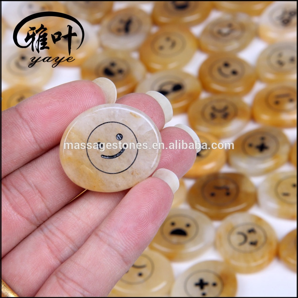 Wholesale Natural Yellow Jade Engraved Stone with Popular Funny Emoticon