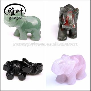 "Bulk 2"" Assorted Color Carving Elephant Statue Feng Shui Crafts Natural Stone Carved Figurine Chakra Carving Stones Healing"