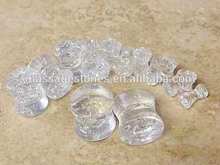 quartz double flare ear plug organic stone ear gauges