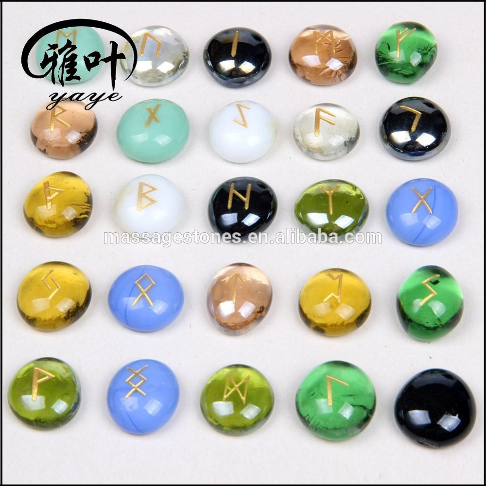 Wholesale Glass Beads Stone Engraved Runes Glass Stones Gift
