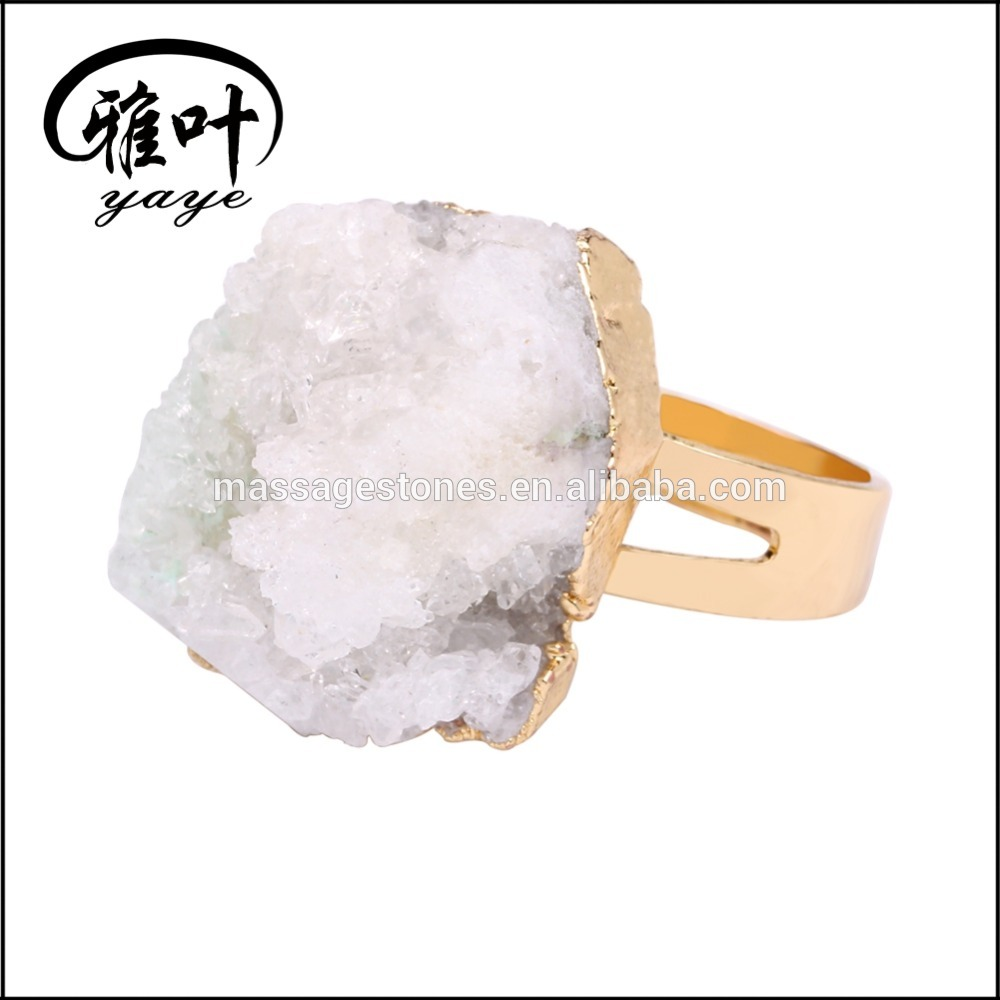 Wholesale Natural Crystal Quartz Topaz Geode Rings Bulk