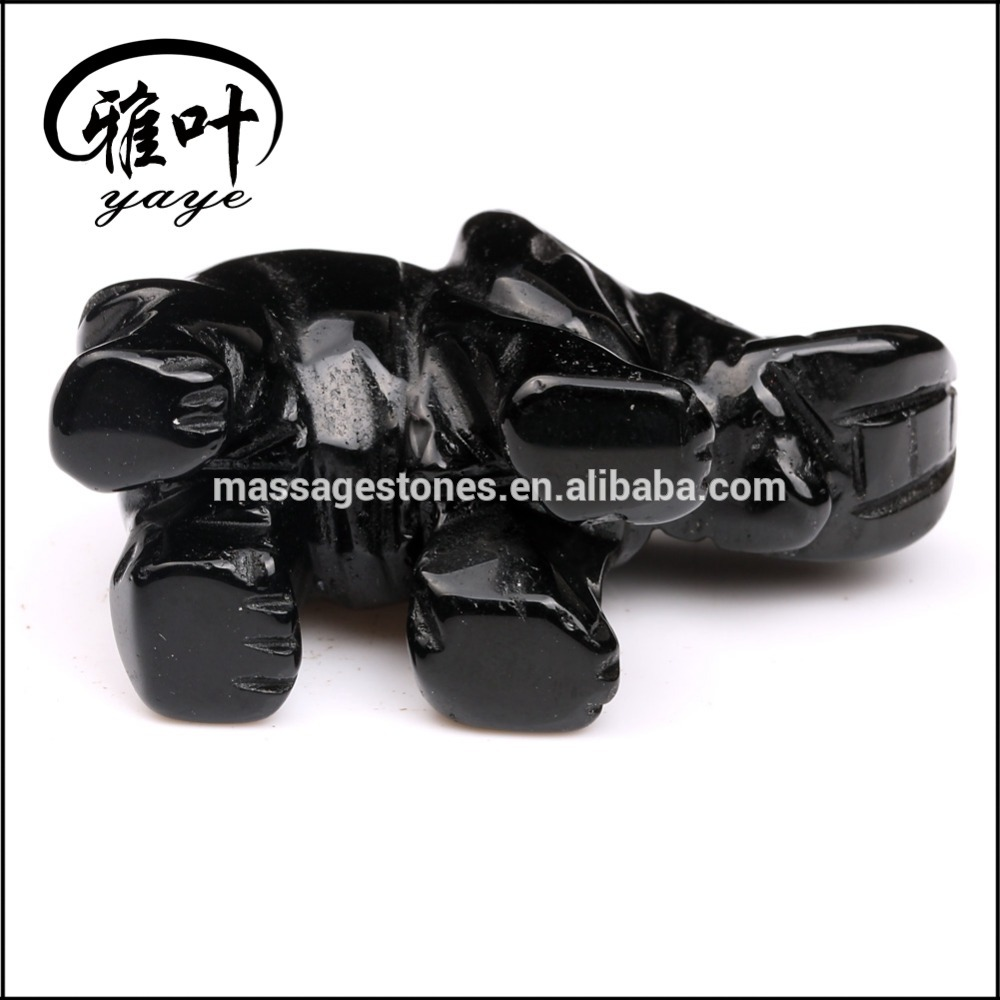Wholesale Hand Black Obsidian carving elephant sculpture figurines