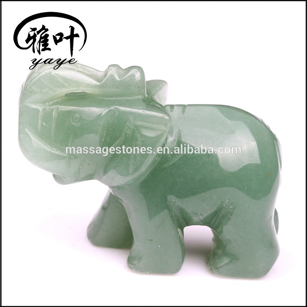 Wholesale Hand stone green aventurine carving elephant sculpture figurines