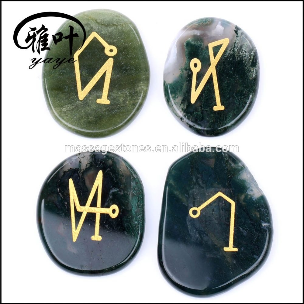 Engraved 4 Archangels Symbols Moss Agate Palm Stone