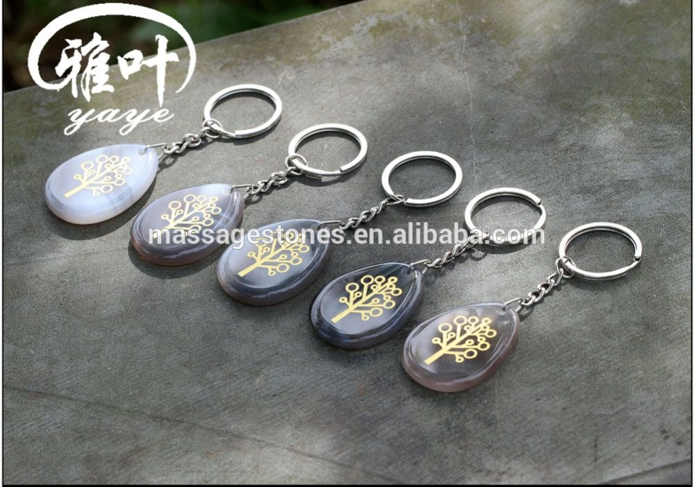 Wholesale Natural Grey Agate Engraved personalized sign key chains