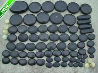 Black Natural Hot Massage Stone Set For Body Face and Toe