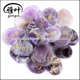 Natural High Grade Amethyst Words Stone with Love