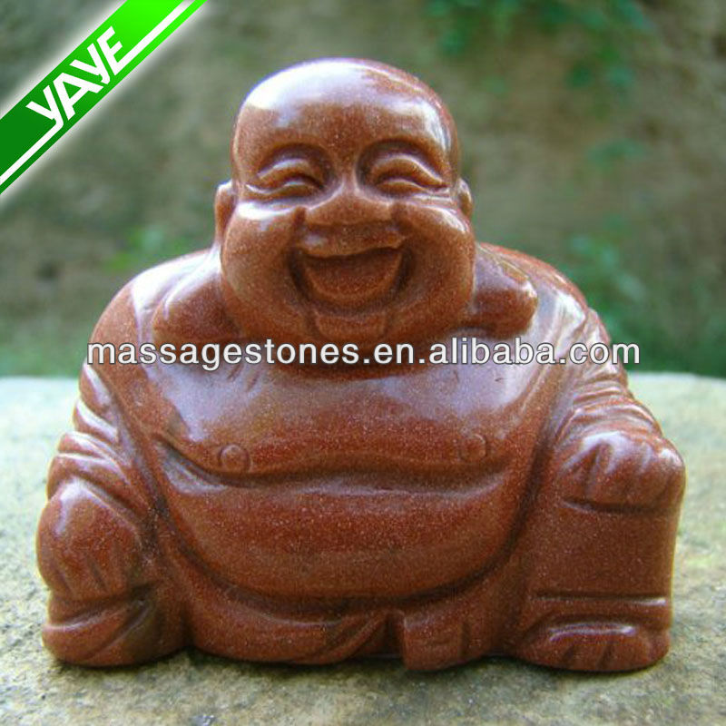 Gold Sand Stone Carved Fortune Figurine Stone carving buddha
