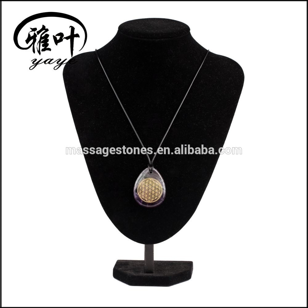 Natural Amethyst Engraved chakra gold Flower of life stone Drop Shape pendant Necklace
