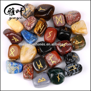 Wholesale Engraved Tumbled Stone Rune Set