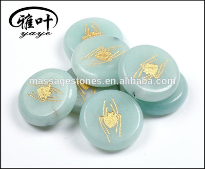 Natural Amazonite Engraved Customer Design Palm Stone For Sale