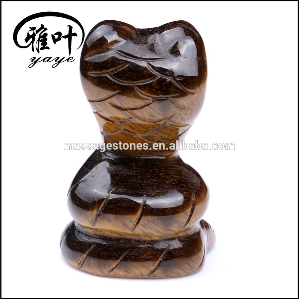 Wholesale Yellow Tiger Eye Gemstones Snake Sculpture Carved Animal Carvings