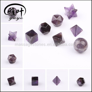 Natural Amethyst Platonic Solids Set Gemstone Healing Sacred Geometry Set