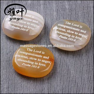 Engraved Words Natural Carnelian Palm Stone