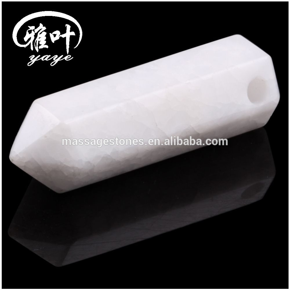 Natural White Jade Hexagon Prism Pendant