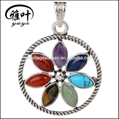 Wholesale Chakra stone set pendants gemstone natural stones pendant