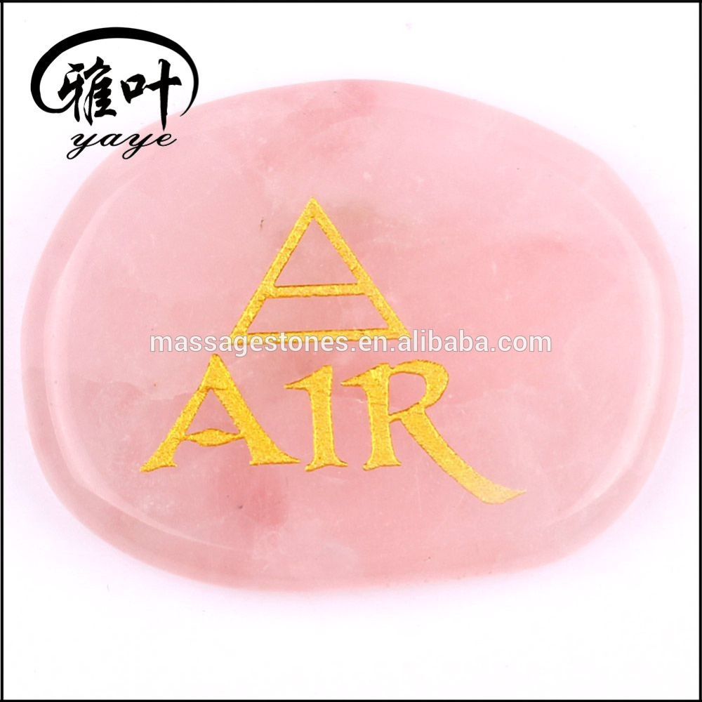 Wholesale Engraved Rose Quartz Elements Rune Stone Protective Reiki Stone