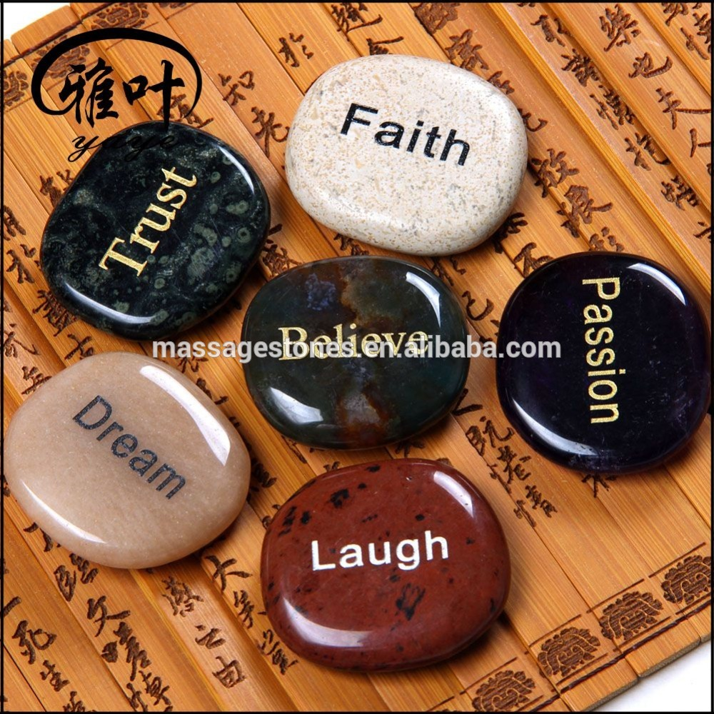 Wholesale Natural Semi Precious Engraved Insprational Words Palm Stone