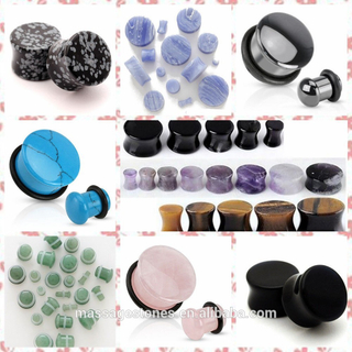 body jewelry gemstone ear plug, saddle pair ear plugs gauge