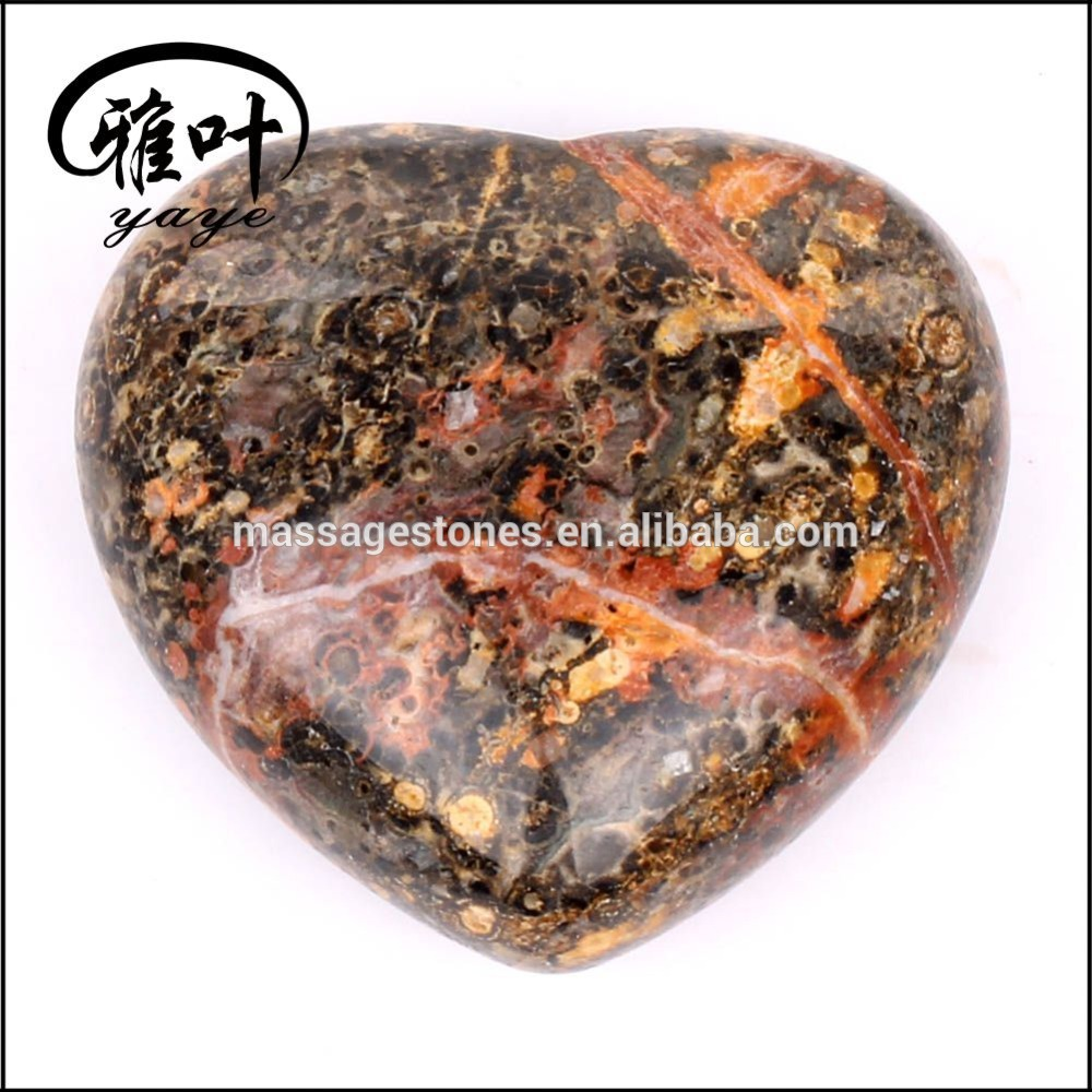 Natural Red leopard Jasper customized Heart Shape