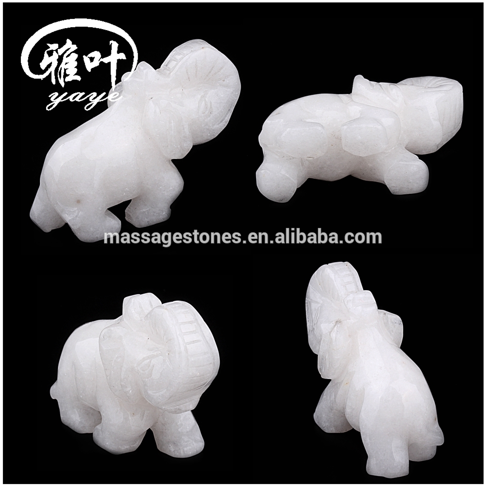 Natural Gemstones White Jade Elepahnt Animal Carvings/Sculpture