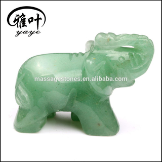 Natural Green Aventurine Jade Elephant Carvings