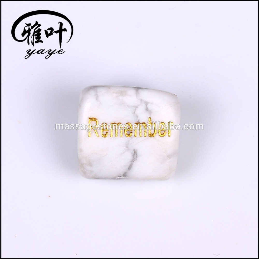 20-25mm Natural Howlite Engraved Words Tumbled Stone for Sale