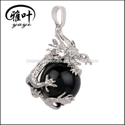 Natural Stones Dragon Silver Pendants