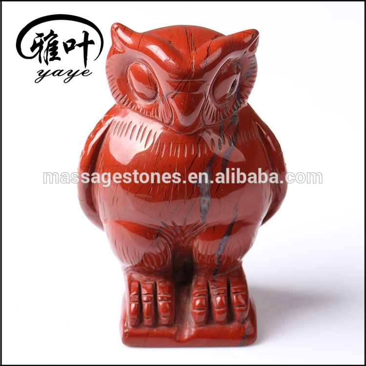 Wholesale Hand Carved Red Jasper Owl Statues Owl Carvings