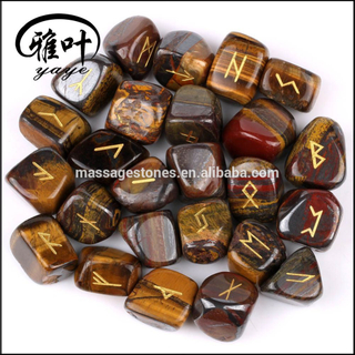Natural Yellow Tiger Iron Stone Engraved Tumbled Stone Rune Set