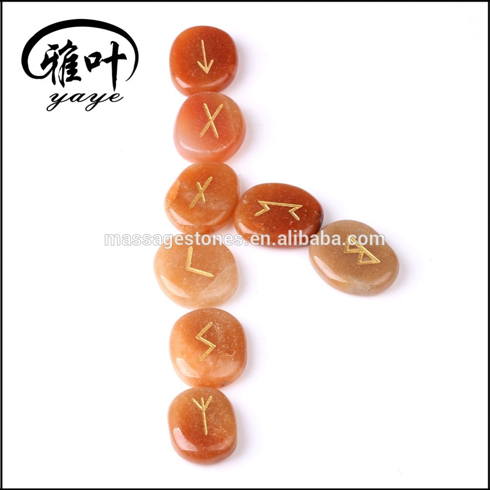 Wholesale Natural Red Aventurine engraved augury rock rune stone set