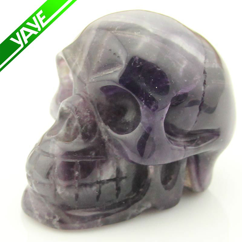 Natural Dog Teeth Amethyst Carved Crystal Skull Craft