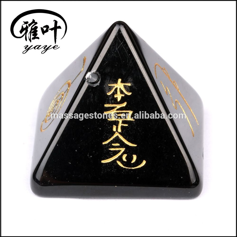 Natural Black Obsidian Engraved Reiki Healing Pyramid