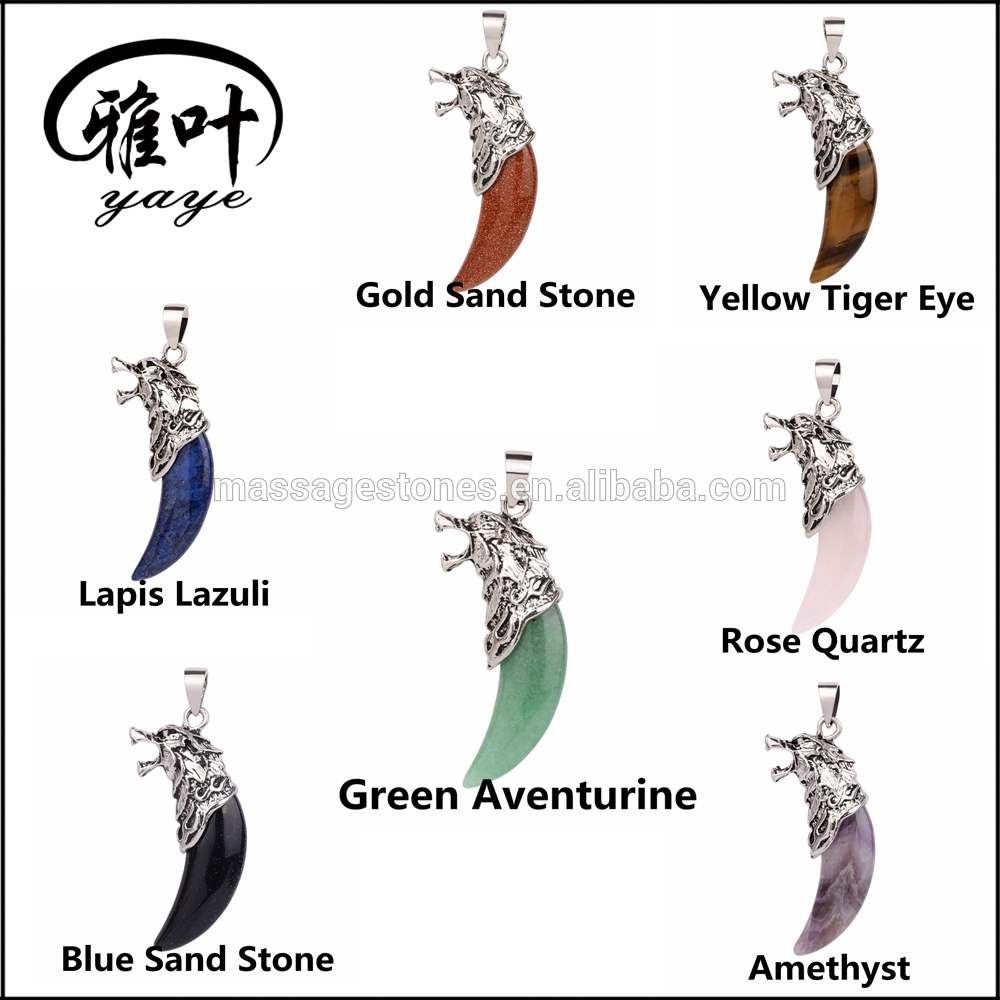 Different Style Gemstones Wolf Pendants