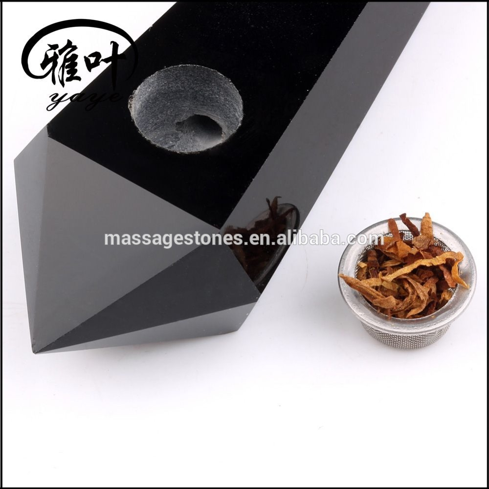 Commercial Gifts Black Obsidian Crystal Smoking Pipes Smoky Cigaratte Holder