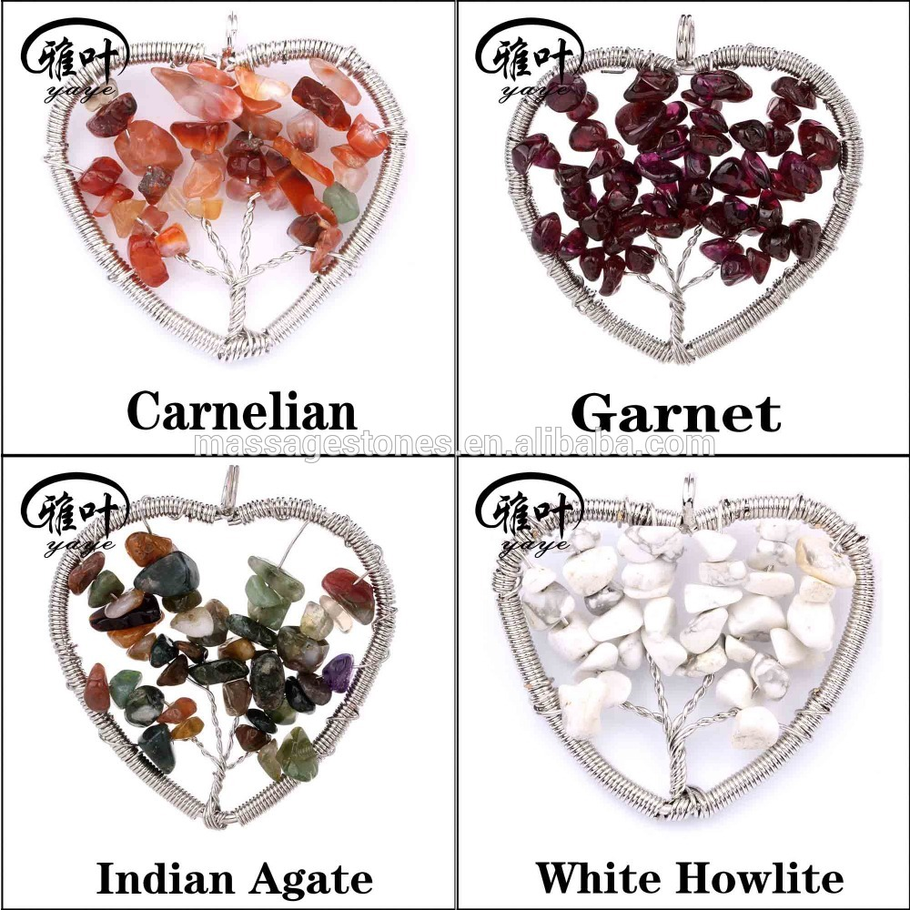 Natural Gemstone Heart Shape Tree of Life Handmade Pendant&Necklace