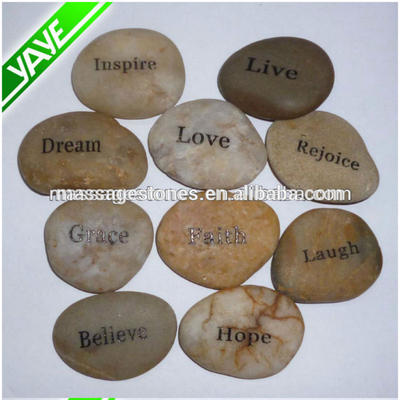 "Bulk Wholesale 1-2""Customized Engraved pocket word pebble stone"
