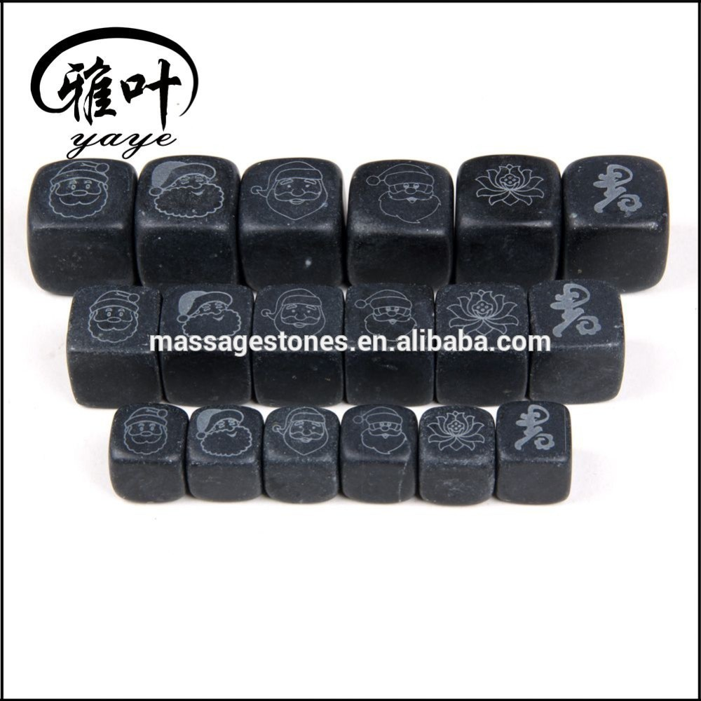 Wholesale Engraved black marble whisky stone for Christmas