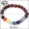 Natural 8mm gemstone energy lucky chakra beads bracelet with buddha head