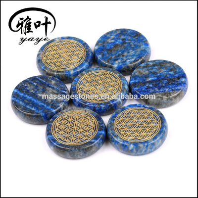 Natural Lapis Lazuli Engraved Flower of Life Coin Beads Shape Pendants