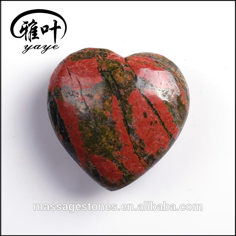 Beautiful Heart Shaped Gemstone Unakite Pendant as Gift