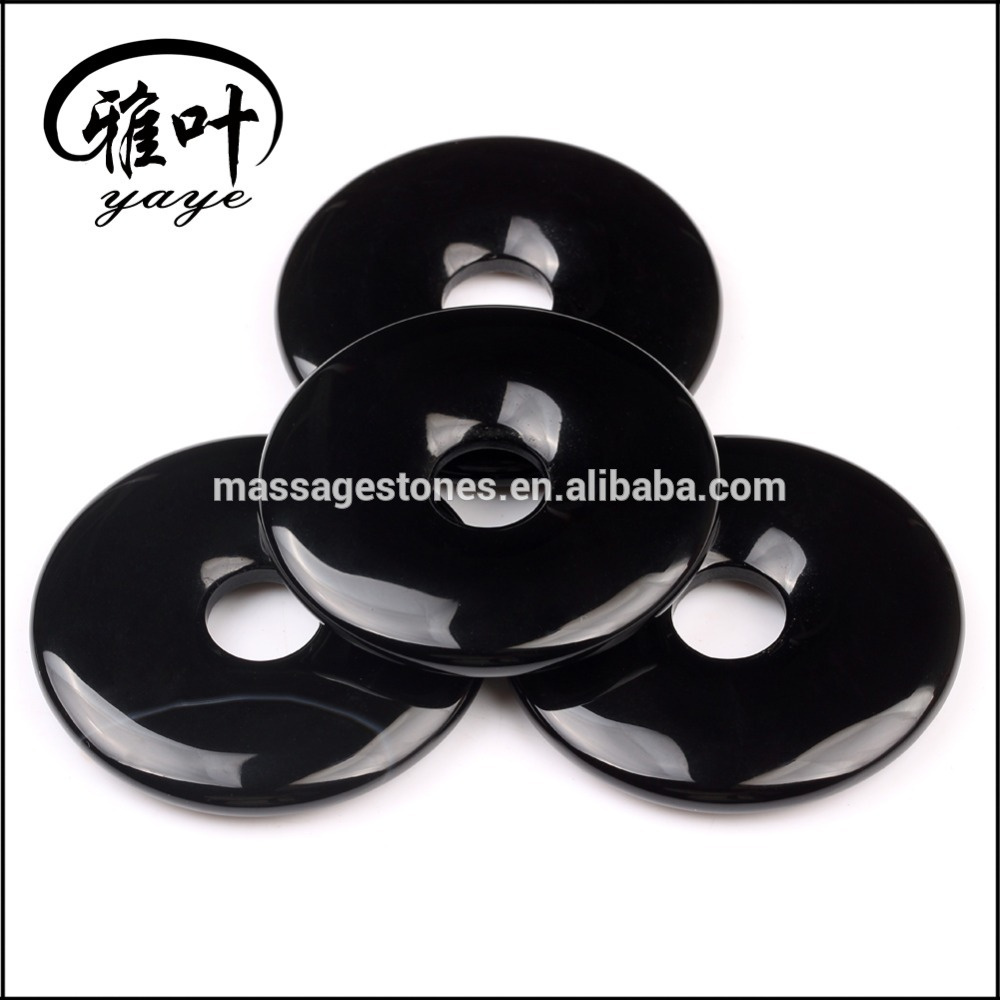 Wholesale Black Onyx Gemstone Crystal Donut Pendants for Jewelry Making