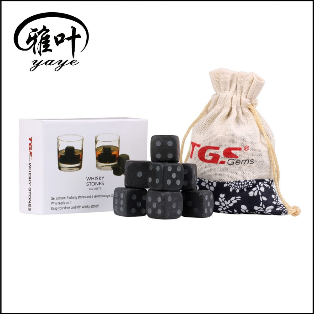 Wholesale Engraved Logo Black Basalt FDA Certificated Dice Ice Cube