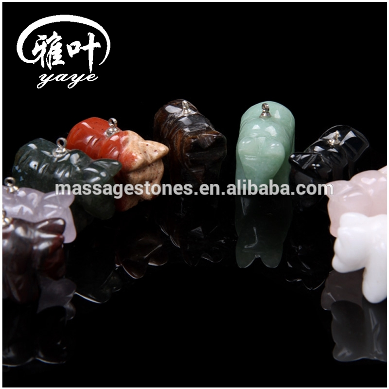 Muiti-colored Natural Stones Bear Pendants as Friend Pendants