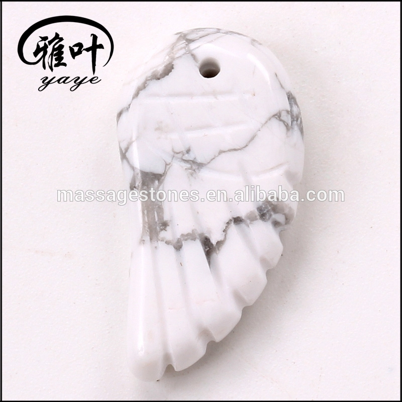 Natural Stones Carved Angel Wing Pendants