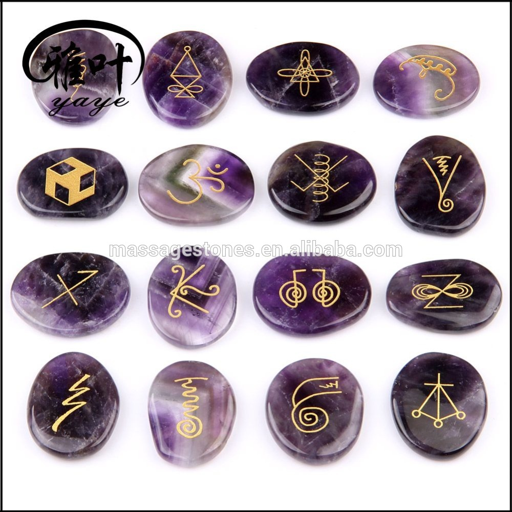 Natural Purple Amethyst Engraved Chakra Reiki Healing Palm Stone Set